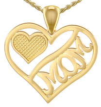 5/8in 14k Yellow Gold Polished Mom & Heart Pendant Necklace - US Jewels