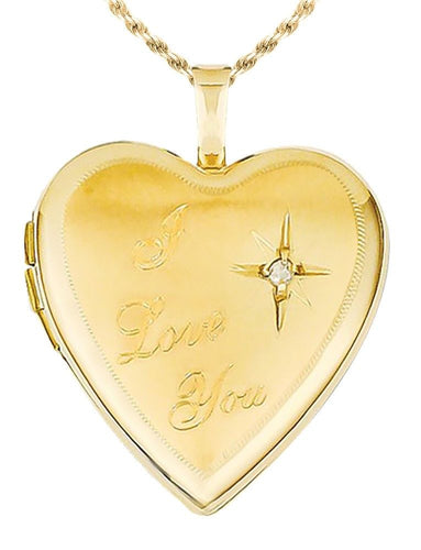 Diamond Heart Necklace - I Love You Necklace In Gold
