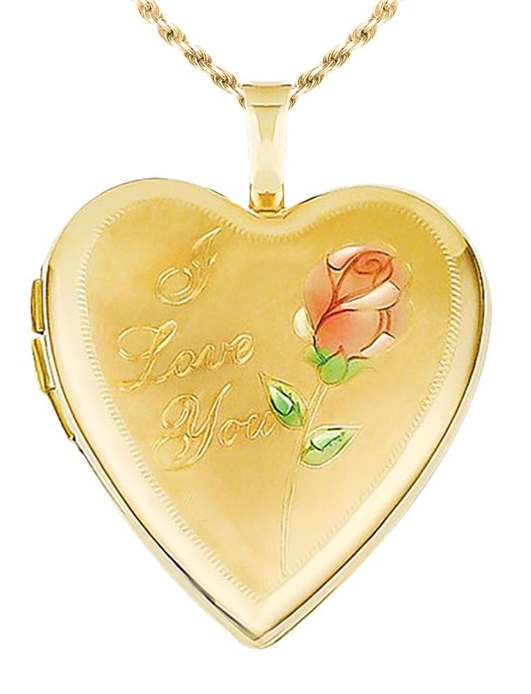 Heart Necklace - I Love You Necklace In 14K Yellow Gold