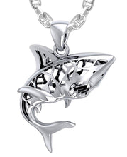 Shark Necklace With Window To Universe - 3mm Marine Chain