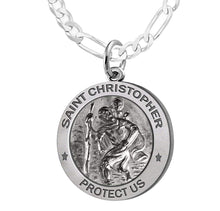 St Christopher Necklace Made For Men - Figaro Chain