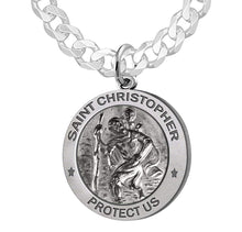 St Christopher Necklace With Curb Chain For Men