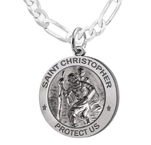 St Christopher Necklace With Figaro Chain For Men