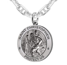 St Christopher Necklace With Marine Chain For Men