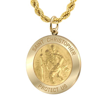 Saint Christopher Necklace Of Gold - 2.4mm Rope Chain