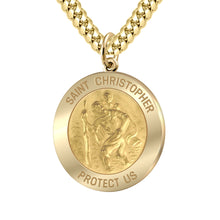 Saint Christopher Necklace Of Gold - 3.9mm Cuban Chain