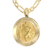 Saint Christopher Necklace Of Gold - 3.9mm Figaro Chain