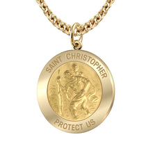 Saint Christopher Necklace Of Gold - 3mm Cable Chain