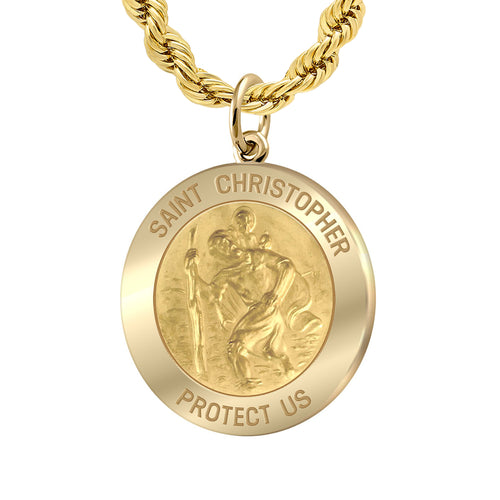Saint Christopher Necklace Of Gold - 3mm Rope Chain