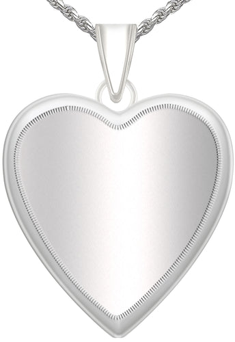 Heart Necklace - Silver Pendant With 2 Photo & Chain