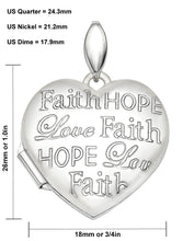 Faith Hope Love Necklace In Heart Shape - Size Details