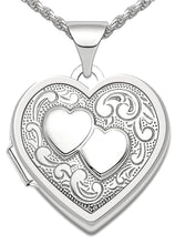 Heart Locket - Silver Pendant Of 2 Heart Design In Oval