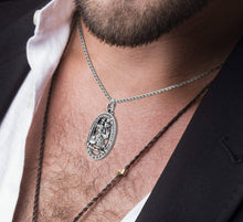 St Christopher Necklace In Oval For Men - Worn On Neck
