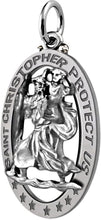 St Christopher Necklace In Oval For Men - Pendant