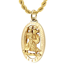 St Christopher Pendant In Gold For Men - 2.4mm Rope Chain