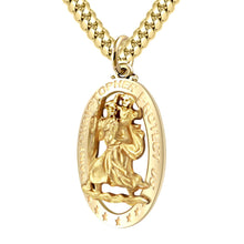 St Christopher Pendant In Gold For Men - 3.9mm Cuban Chain