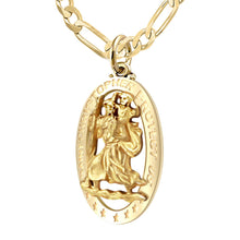 St Christopher Pendant In Gold For Men - 3.9mm Figaro Chain