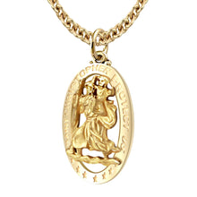 St Christopher Pendant In Gold For Men - 3mm Cable Chain