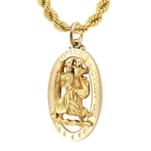 St Christopher Pendant In Gold For Men - 3mm Rope Chain
