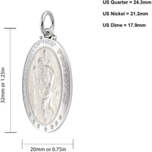 St Christopher Necklace In 925 Purity - Size Details