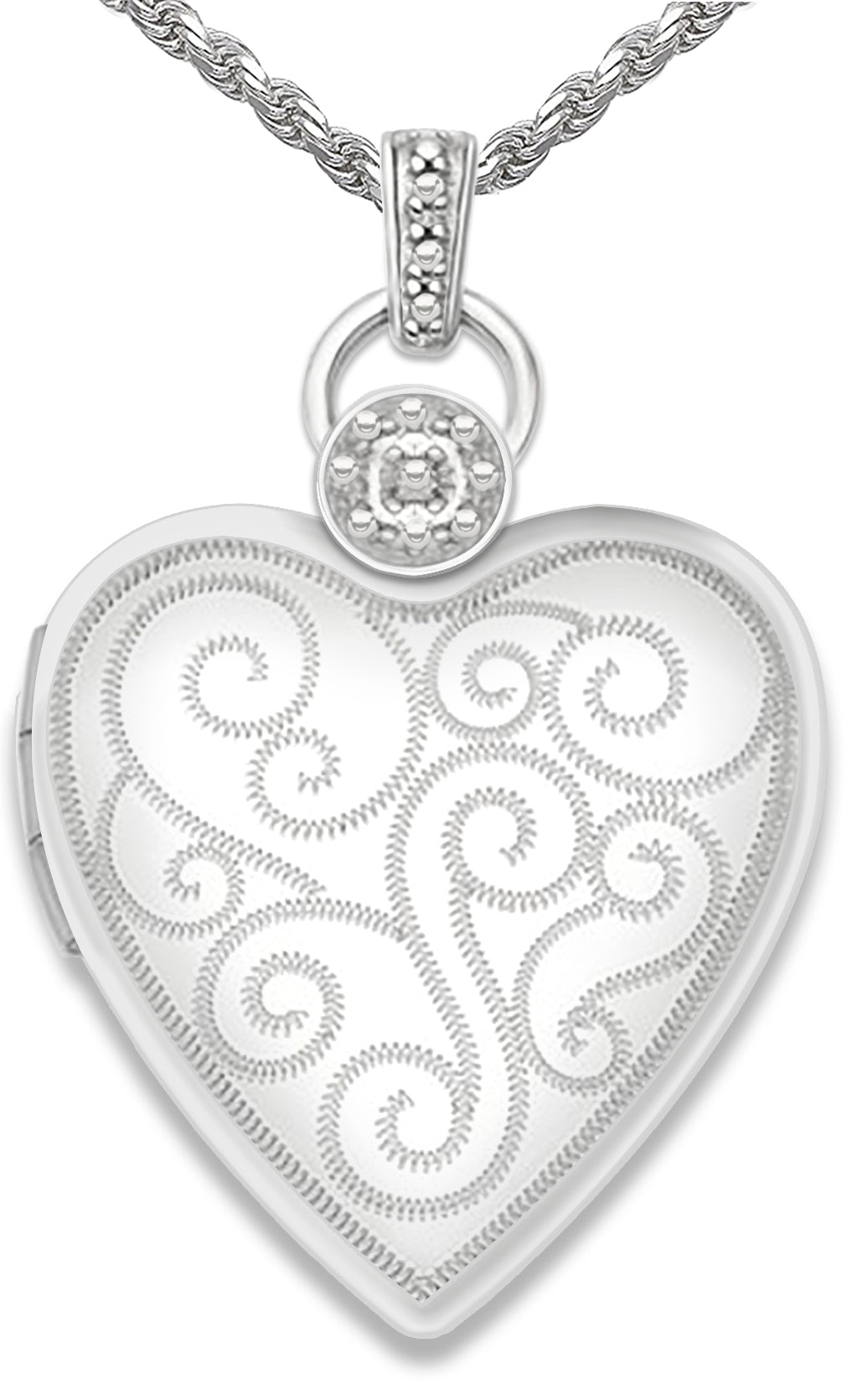 Heart Locket - Diamond Necklace Of Silver With 2 Photos
