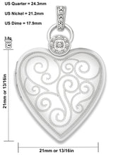 Heart Locket With 2 Photos & Diamond Accents - Size Details
