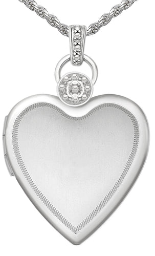 Diamond Necklace - Heart Locket With 2 Photo In Silver