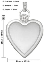 Diamond Necklace With 2 Photo Heart In Silver - Size Details