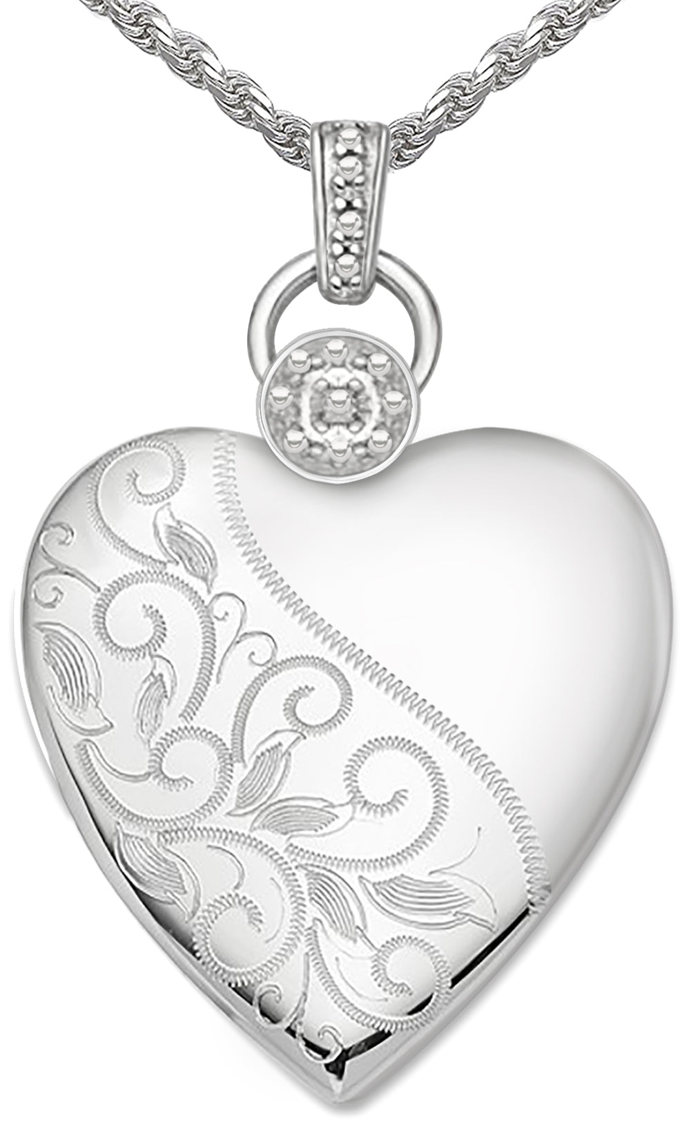 Heart Necklace - Silver Necklace With Floral 2 Photo