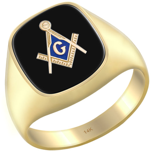 Blue Lodge Onyx Gemstone Freemason Ring for Men