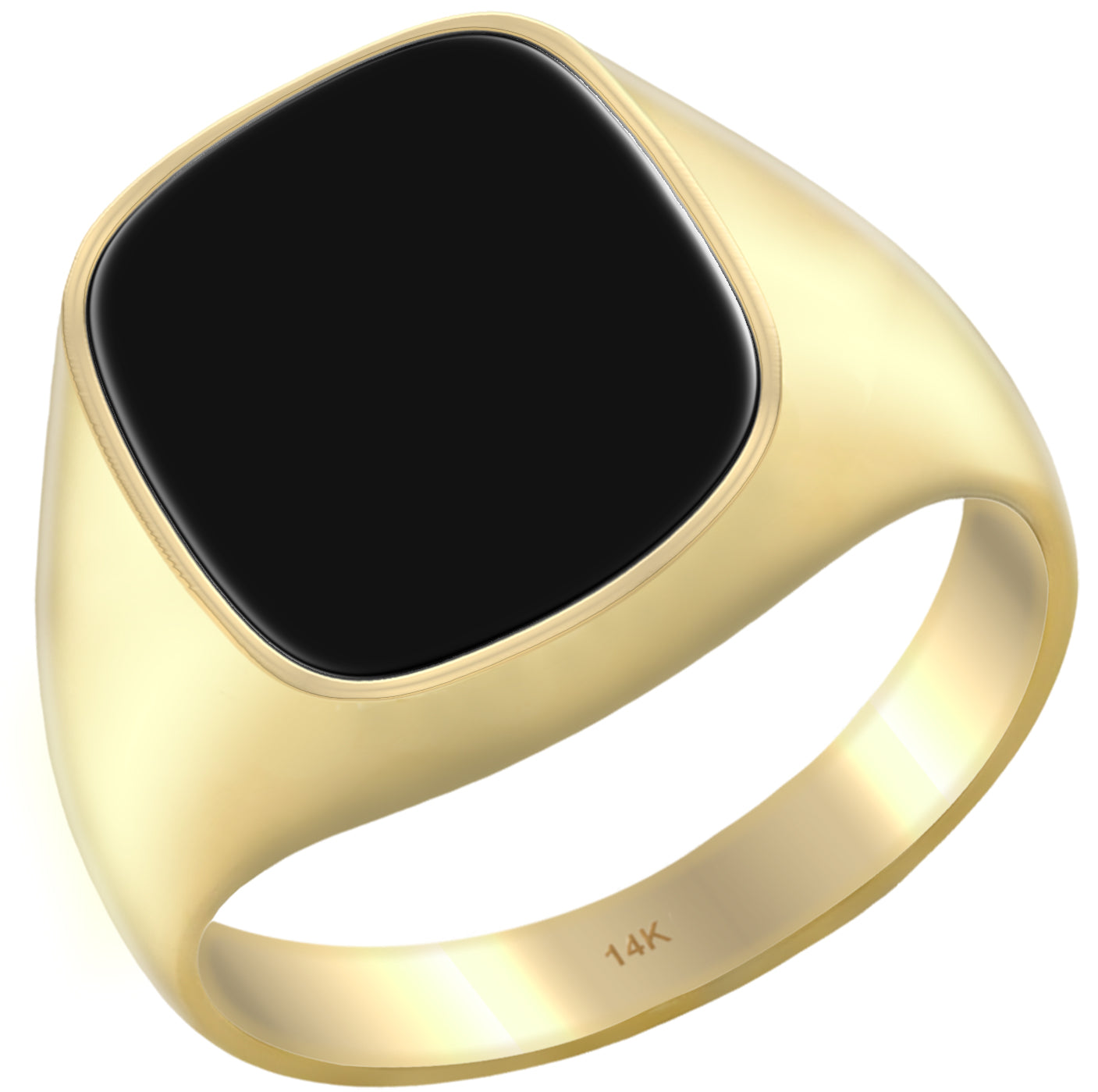 Men's 14k Yellow Gold Onyx Genuine Black Gemstone Ring