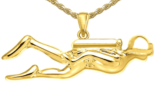 Gold Pendant - Pendant Necklace With Scuba Diver In New
