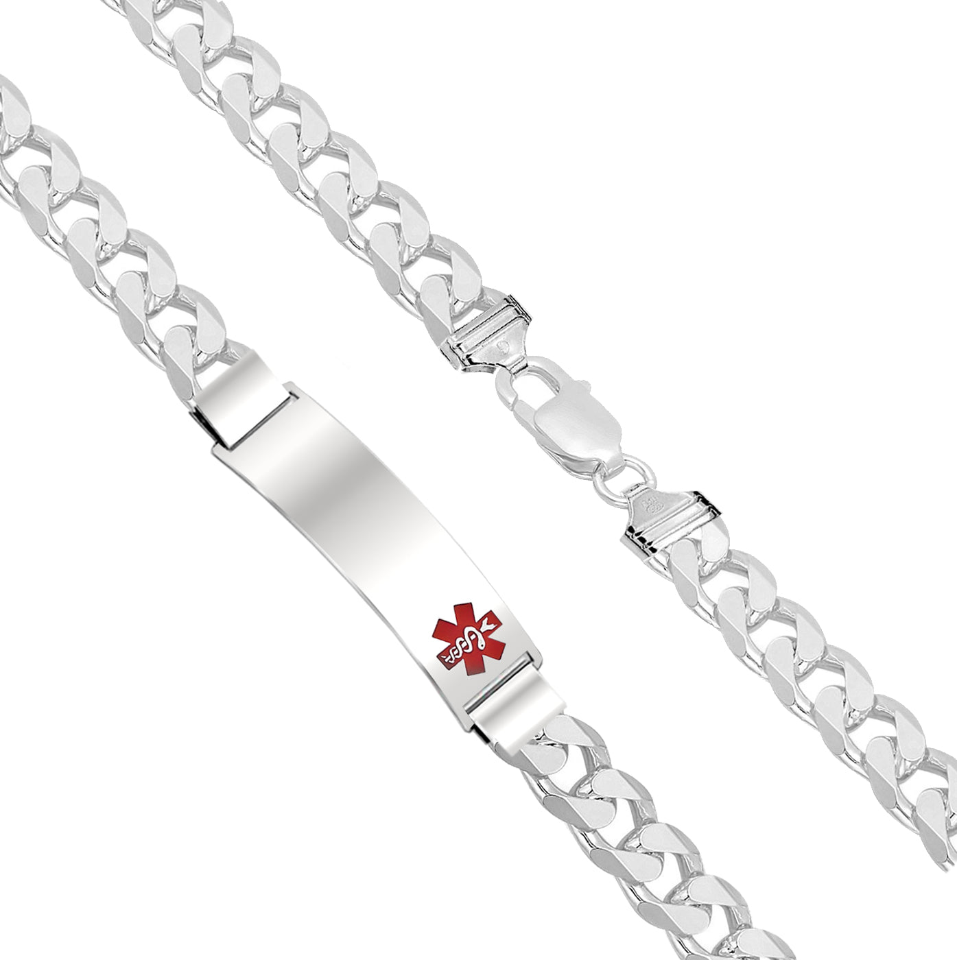 Charm Bracelet - Medical Alert Bracelet In Curb Style