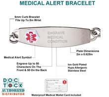 Medical Alert Bracelet With Curb Chain - Details