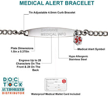 Medical Alert Bracelet In Stainless Steel - Details