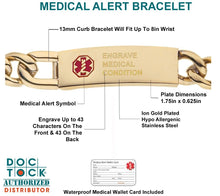 Medical Alert Bracelet In Ion Gold - Details
