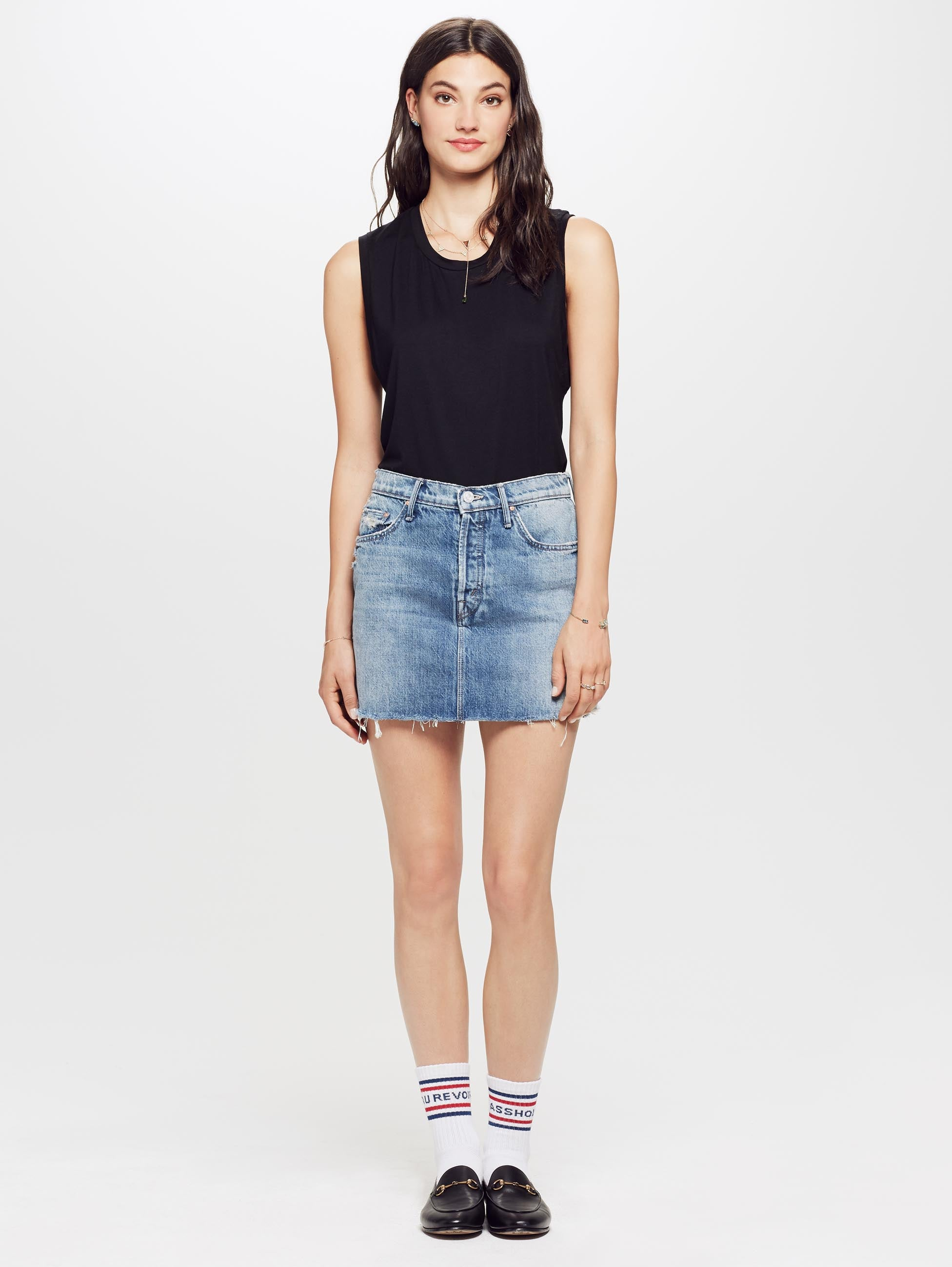 9f3bf8bfb7 The Vagabond Mini Fray Skirt - Lightning Strikes | Mother Denim
