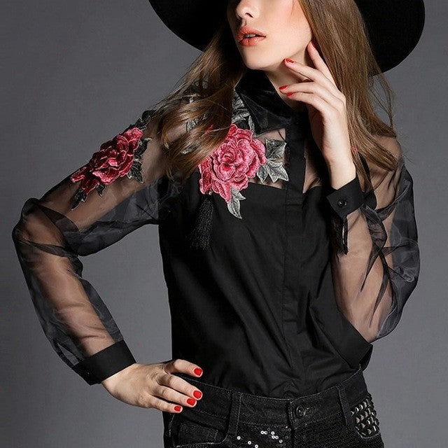 Women Elegant Flower Embroidery Blouse Db Unlimited 2