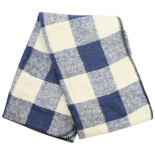 Buffalo Plaid Mexican Throw Blanket - Blue & White