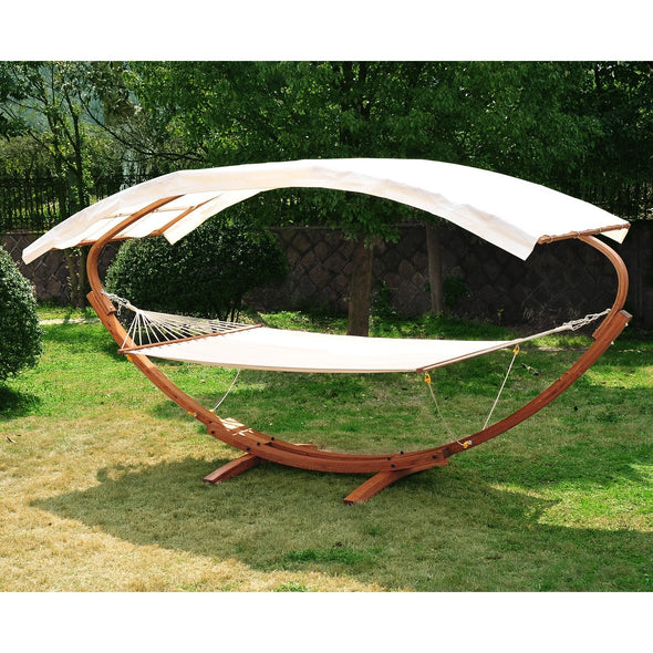 Solid Wood Frame Hammock Lounge Bed with Canopy