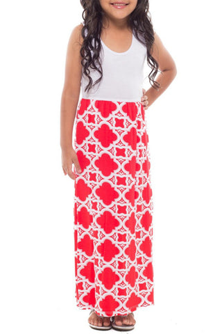 Red & White Maxi Dress - Toddler & Girls