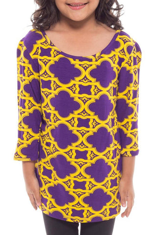 Purple & Gold Quatrefoil Top