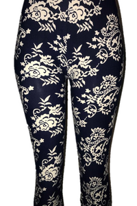 Blue with White Floral Print Leggings