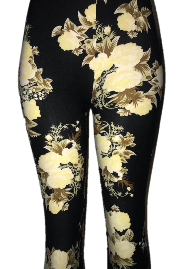 Black with Cream Floral Print Leggings
