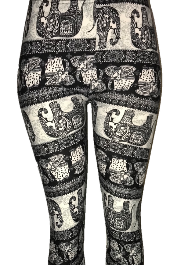 Black & White Striped Elephant Leggings