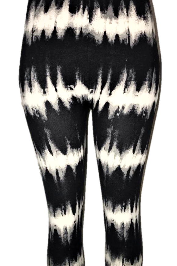 Black with White Tie Dye Stripes Leggings