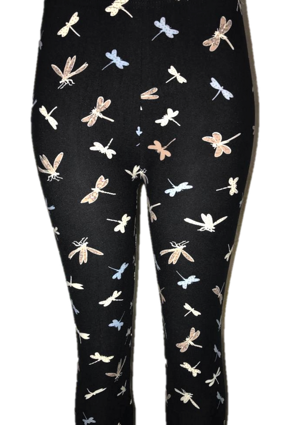 Black with Dragonflies Leggings