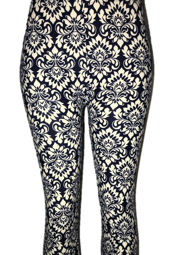 Blue with White Wallpaper Patterned Leggings