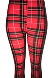 Red Plaid Print Leggings