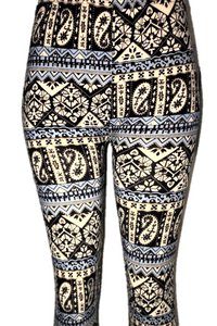 Black, White & Blue Paisley Leggings